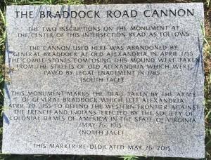 Braddock Road Cannon Plaque - 05 26 15