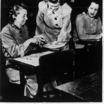 Mrs. Julian Davis, Mrs. Thomas Nelson, and Mrs. G.P. Zickefoose at an etiquette class, 1949