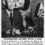 William Huhn of 20 East Linden Street retires after 50 years as a telegraph operator, 1956